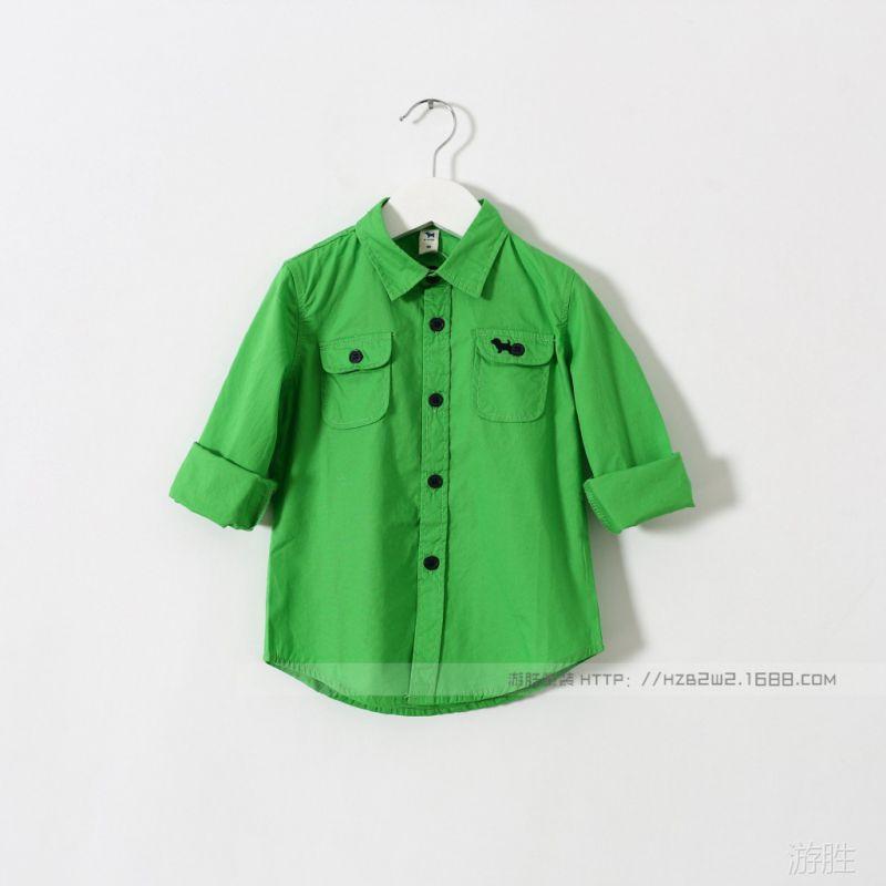 【57e122804 儿童纯色衬衫 背后英文字母 衬衣