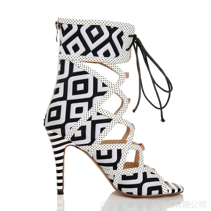 【超高欧美女靴时尚纹鱼嘴靴韩版黑白跟短靴夜冰吧图片