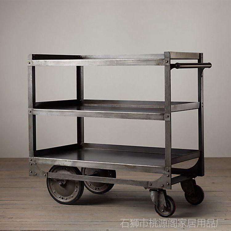 【美式复古做旧滚轮置物架带小学多层环境做餐车铁艺标语v滚轮的图片