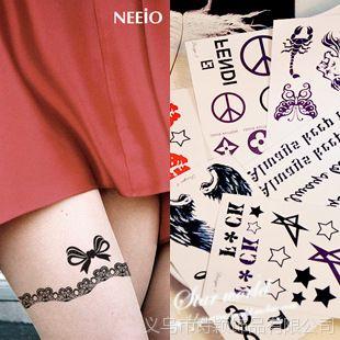 【供应【star】蕾丝花边条形码链条钻石海锚拉链防水纹身贴贴纸】图片