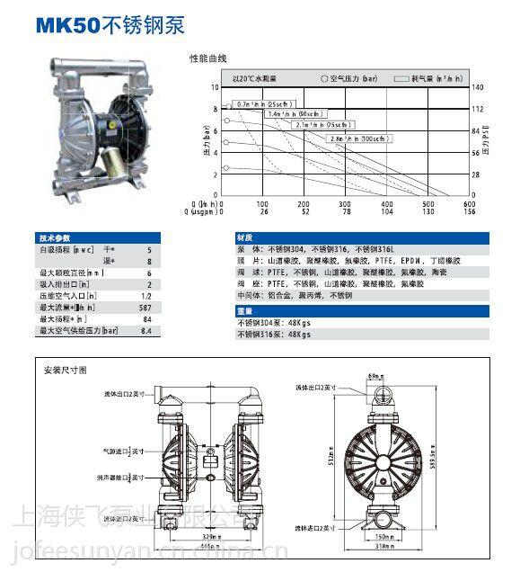 供应JOFEE气动隔膜泵 MK40不锈钢气动隔膜泵