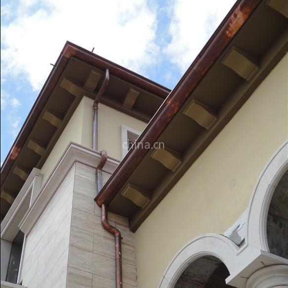 供应别墅铜装饰屋檐沟 金属屋檐雨滴排水 铜排水管