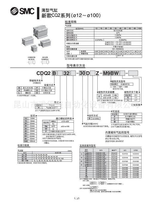 供应smc薄型气缸型号介绍参数信息cdq2b25-25d超低价促销图片