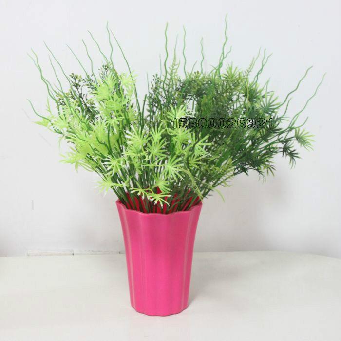 供应田园仿真花套装 尤加利塑料花艺植物小盆景 幸运草桌面迷你绿植图片