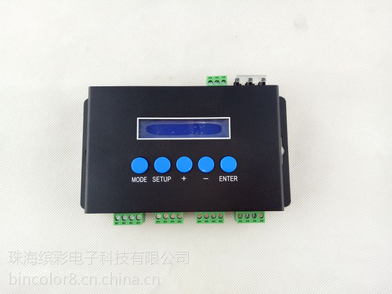 珠海缤彩BC-204以太网转SPI信号4路GS8206断点续传像素彩灯控制器