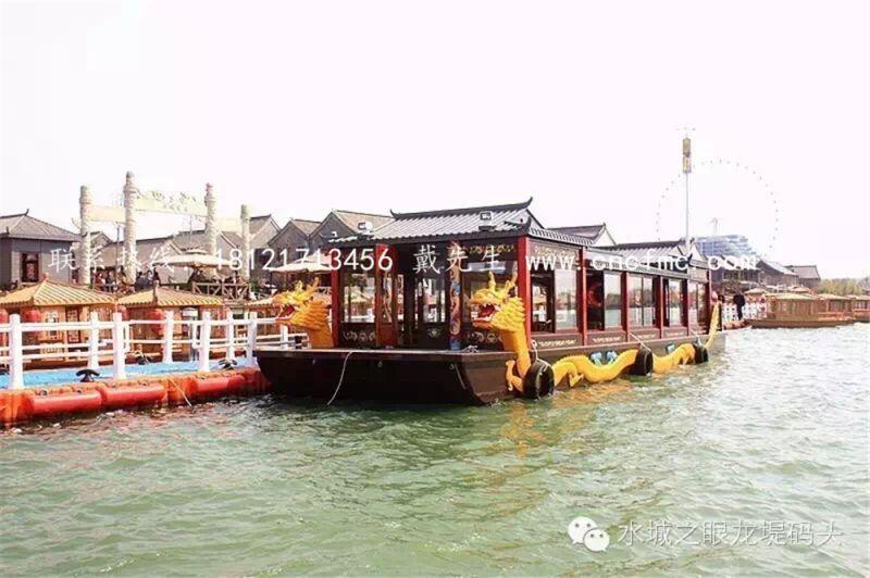 出售画舫船 水上观光旅游船 双龙画舫特色餐饮船 【楚风木船】