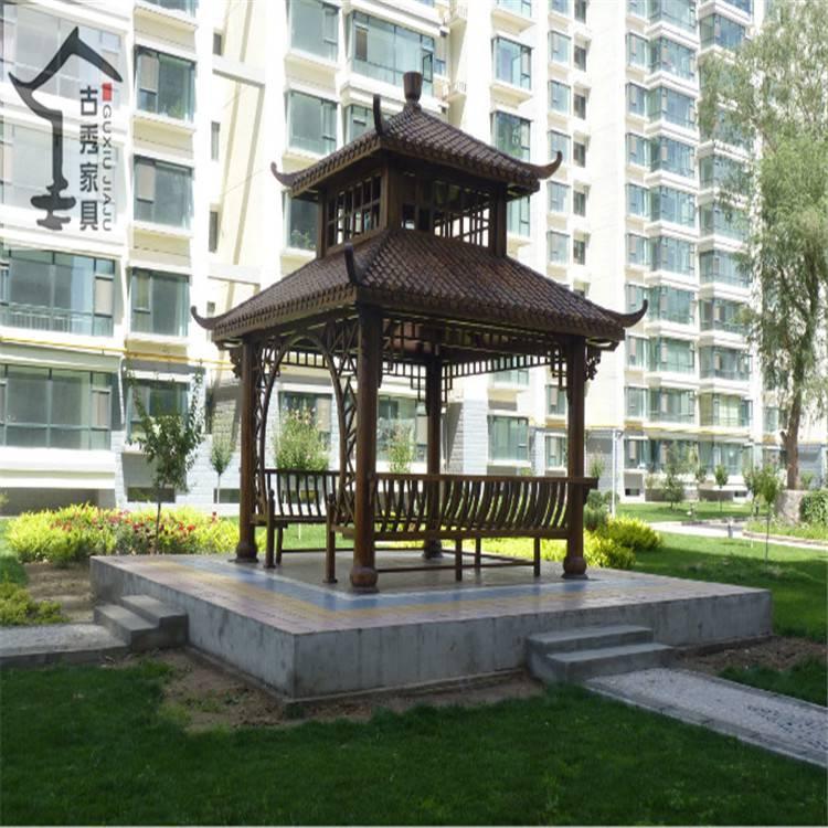 设计仿古碳化木四角凉亭,双层防腐木景观四角亭子