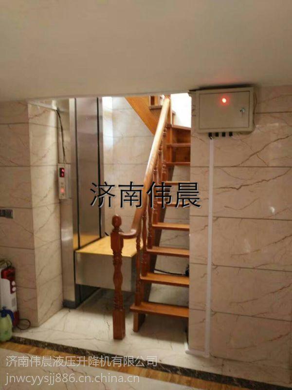供应北京室内钢化玻璃轿厢复式楼升降机 家用简易电梯【济南伟晨】图片