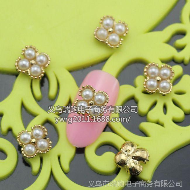 【sh525镶珍珠美美甲合金饰品 美甲店必备款 多款可选图片