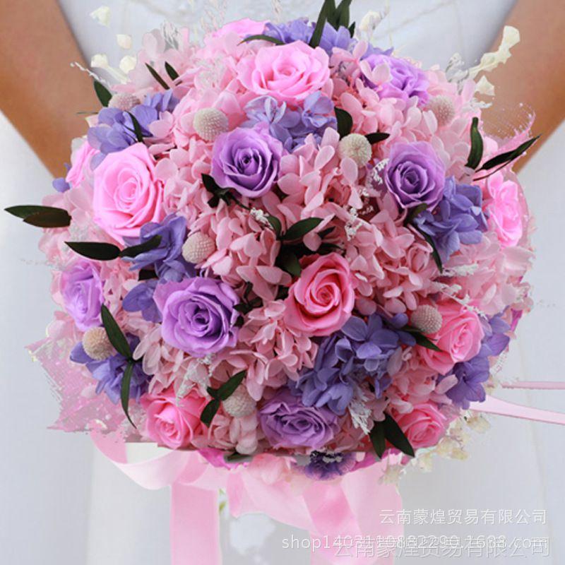 【新款时尚款韩版永生玫瑰保鲜花朵中式新娘求婚手捧花 婚礼用品】图片