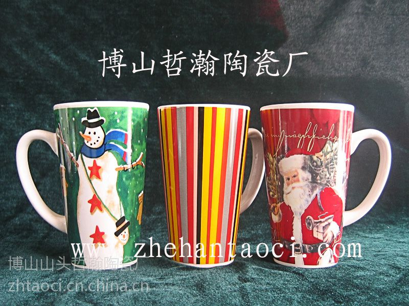 淄博哲瀚陶瓷厂生产陶瓷圣诞杯/陶瓷广告杯/圣诞广告杯