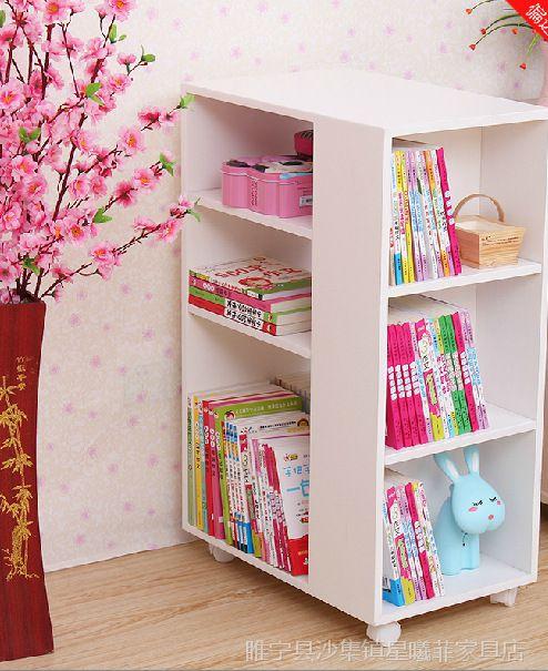 【现代简易书架创意儿童书柜实木家具可v简易家具秦代图片