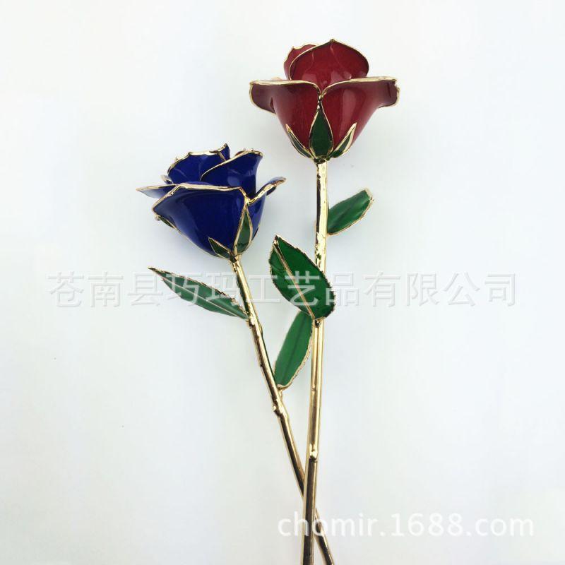 24k镀金玫瑰 真花镀金 送老婆送女朋友 情人节七夕礼物 不二选择图片