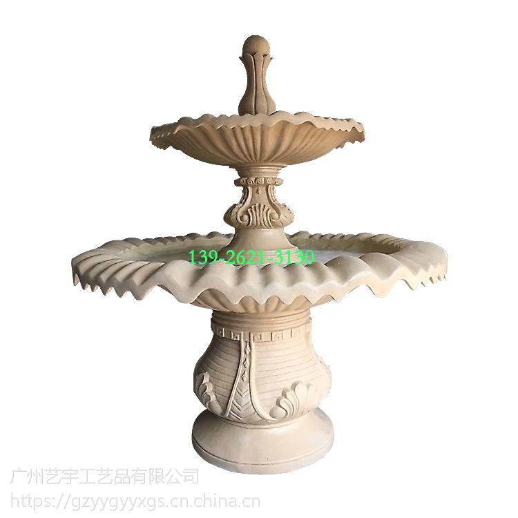 砂岩两层流水钵南宁水景喷泉厂家雕塑景观小型流水钵 大型石雕喷泉