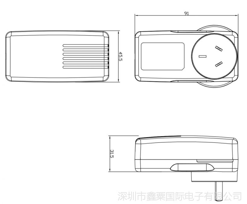 36W插墻式澳規 新外殼  尺寸圖