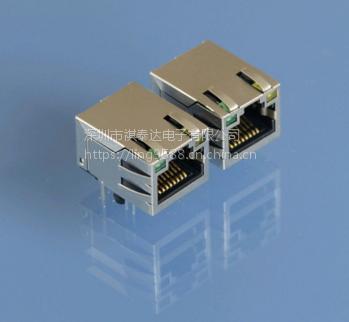 RJ45连接器1X1开口朝上带灯带弹片千兆1840632-3网口插座usb3.0连接器
