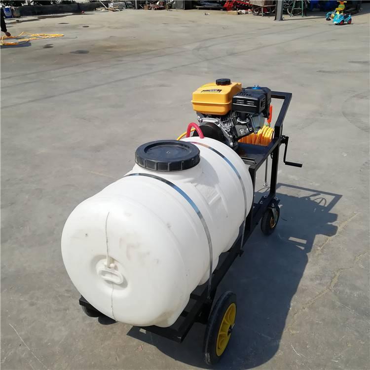 远程麦田喷雾器 手推车拉管打药机 自动缠管喷药机