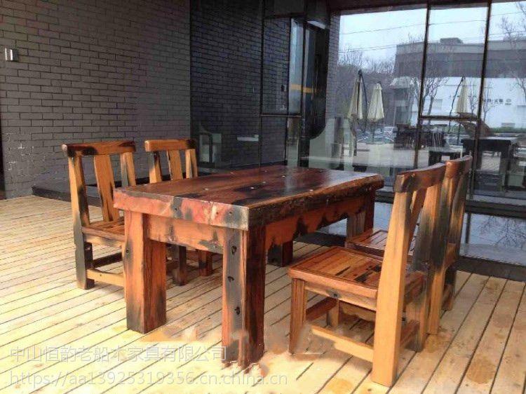 老船木茶桌餐桌茶几仿古茶艺桌中式圆桌客厅船木圆桌可定制