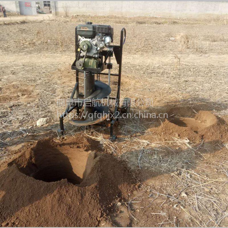 铁路围栏埋桩钻孔机 启航牌果园施肥挖坑机 大面积栽树刨坑机