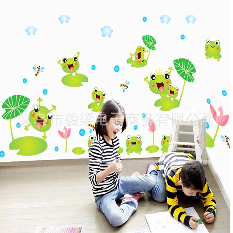 家纺家饰 家居软饰 墙贴 卡通动物青蛙荷花墙纸儿童房卧室幼儿园装饰图片