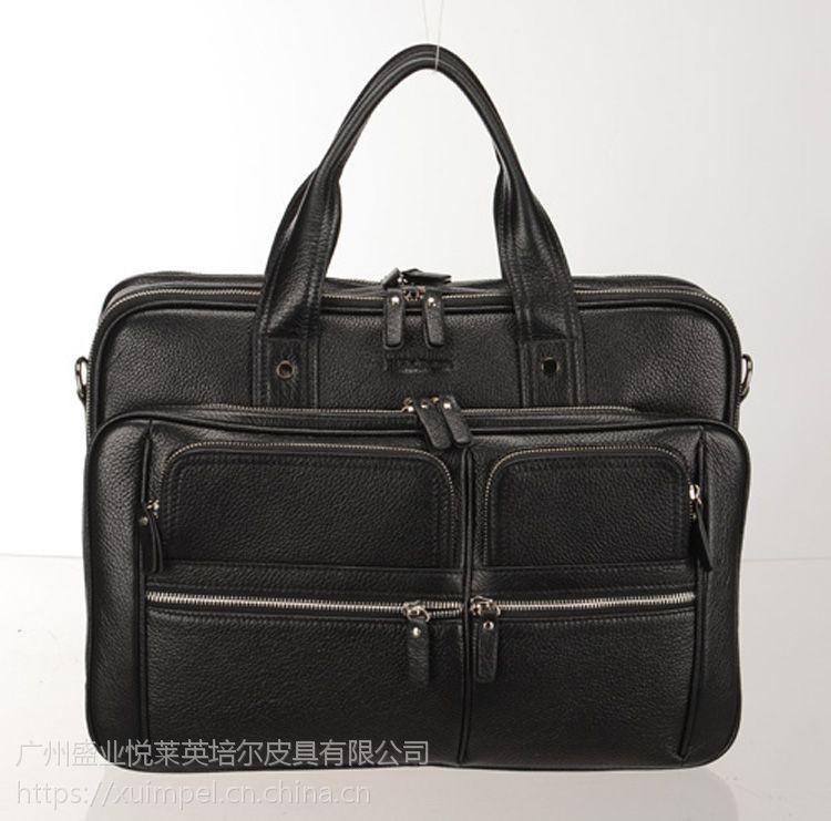 广州英培尔皮具专业制作公文包定制男式手提包皮具厂家立体多袋设计pu皮包