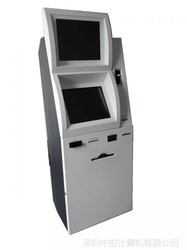 19英寸触摸屏带纸币收钞硬币找零读卡A4打印机双屏立式自助终端