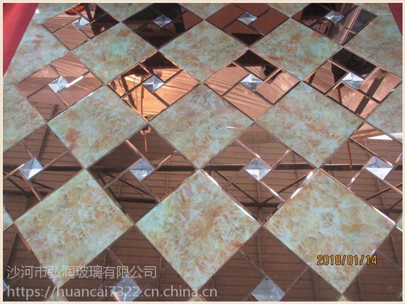 焕彩厂家加工玻璃背景电视墙 各种艺术玻璃拼镜 个性定制