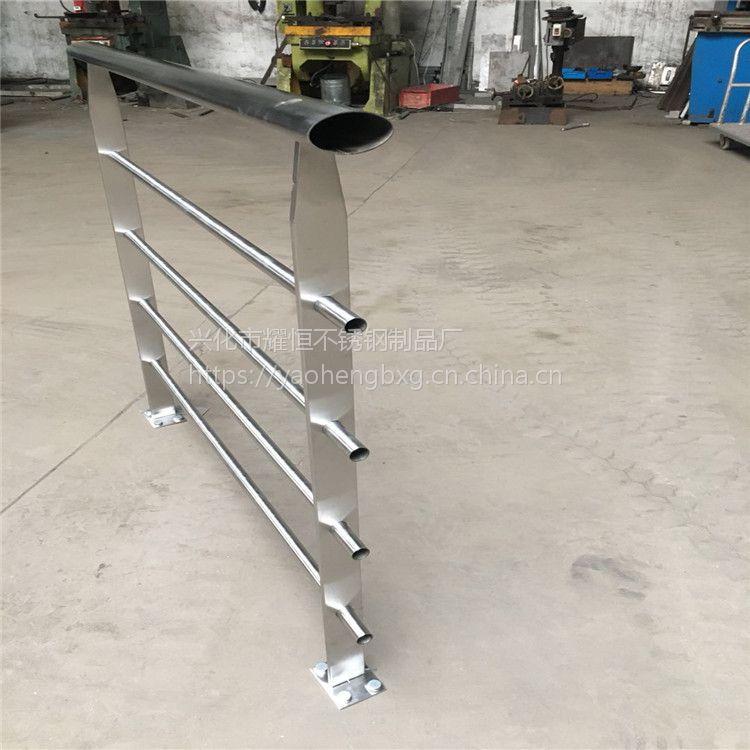 耀恒 304材质新款工程楼梯扶手栏杆扶栏阳台菱形穿管型不锈钢立柱