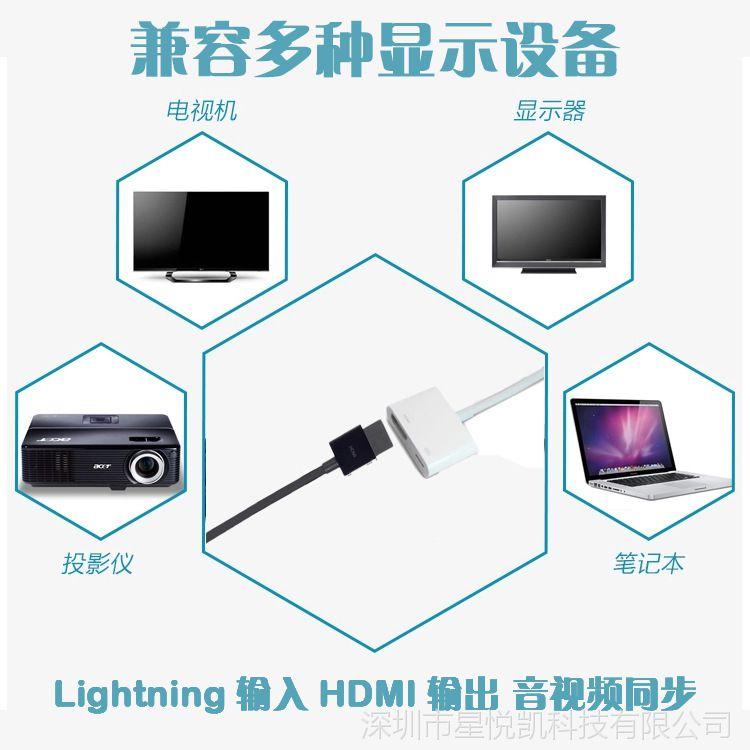 lightning to HDMI同屏高清线转接头 手机ipad苹果转HDMI适配器