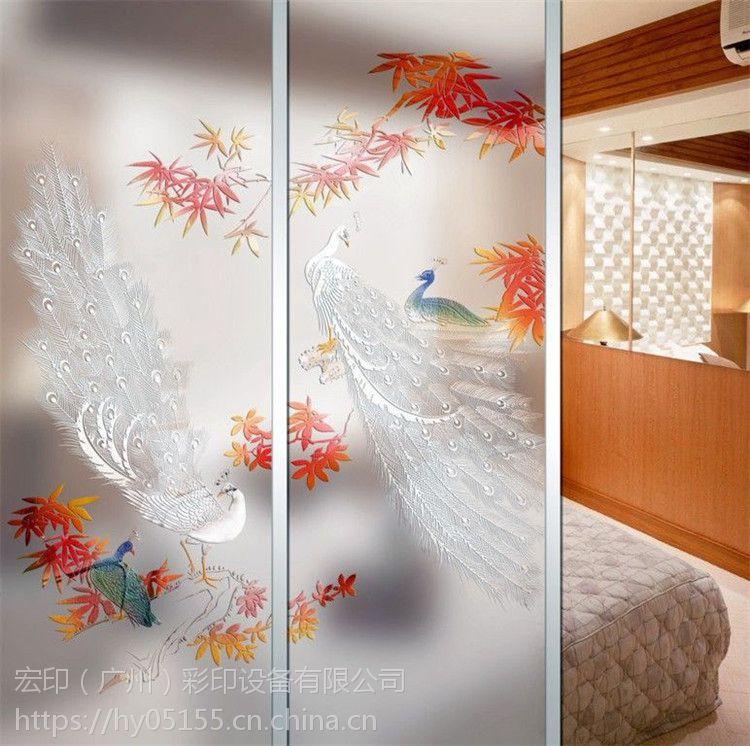 番禺艺术玻璃图案打印机石基理光G5万能平板打印机