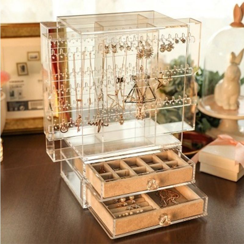 工厂直销亚克力透明悬浮珠宝首饰收纳盒耳钉耳环架展示道具订做