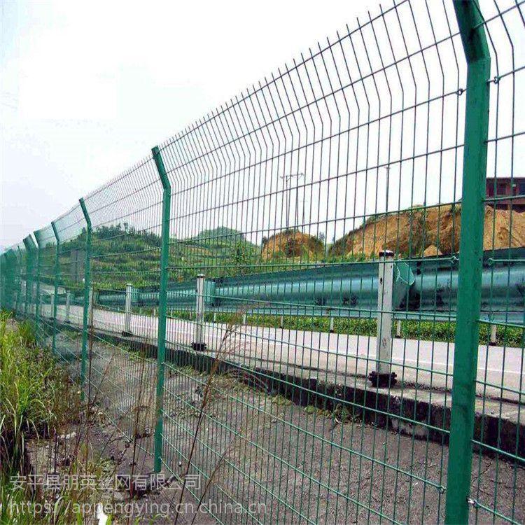 朋英厂家直销 道路绿化双边丝护栏网 机场爬行防护栏 静电喷涂