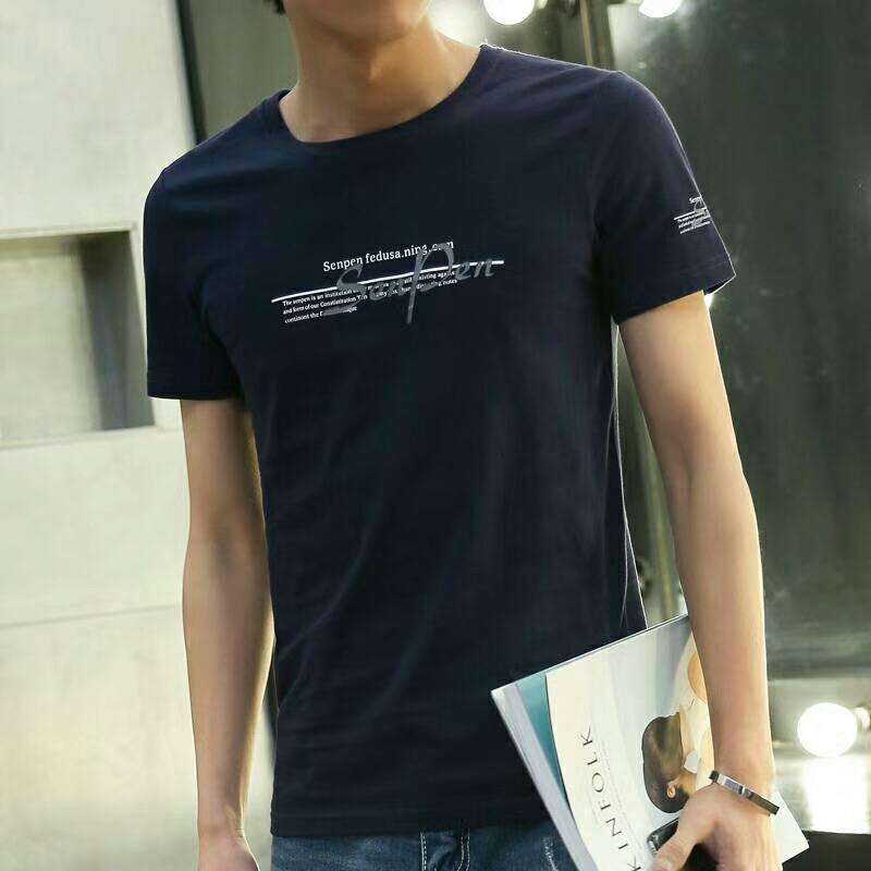 开店拿货服装货源批发市场广州便宜青年男装T恤纯棉圆领修身短袖3元清货