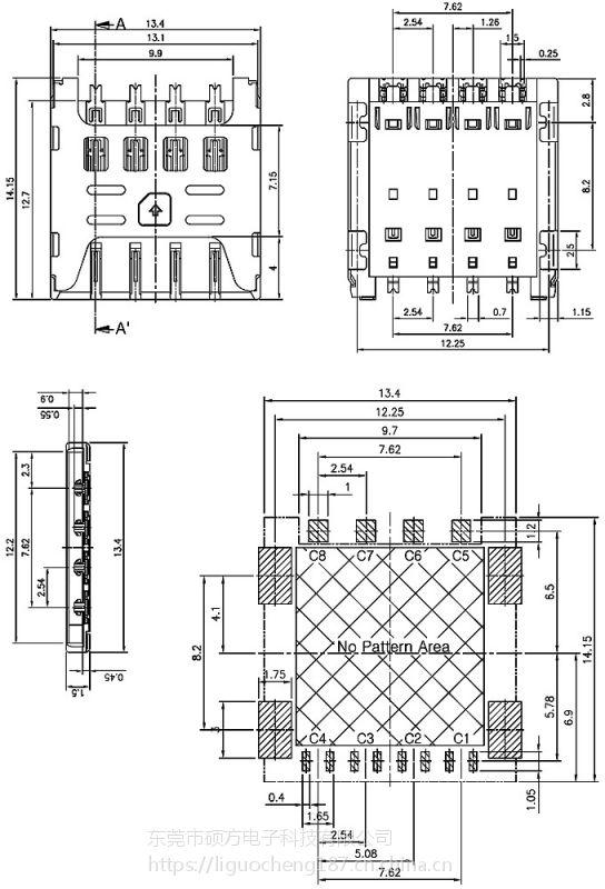 东莞 SOFNG SIM-1515 尺寸:14.2mm*13.4mm*1.5mm SIM卡连接器
