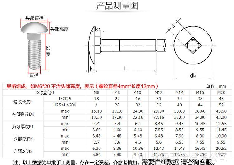 不锈钢螺栓规格_标准编号din603 产品规格m6*20 展开 304不锈钢din603马车螺栓大半