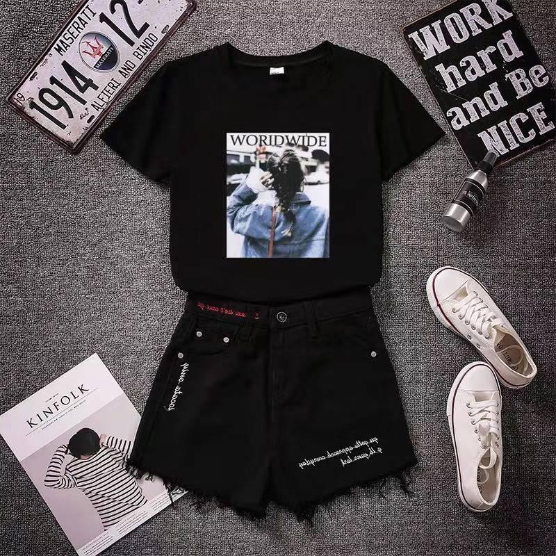 欧洲站2018夏季新品高腰破洞修身显瘦毛边时尚百搭女式牛仔短裤
