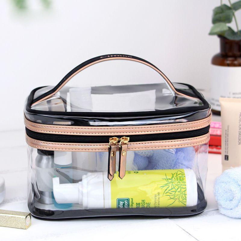 【手提透明PVC化妆包定制logo】深圳手袋厂贴牌加工洗漱包防水旅行收纳箱