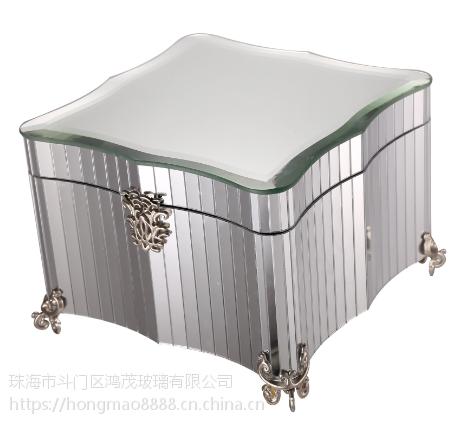 鸿茂玻璃厂家代加工定制商务礼品家居工艺品首饰箱首饰盒收纳盒