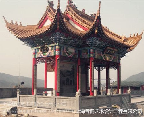 上海雕塑石雕圆顶凉亭|欧式玻璃钢罗马柱凉亭|园林景观装饰