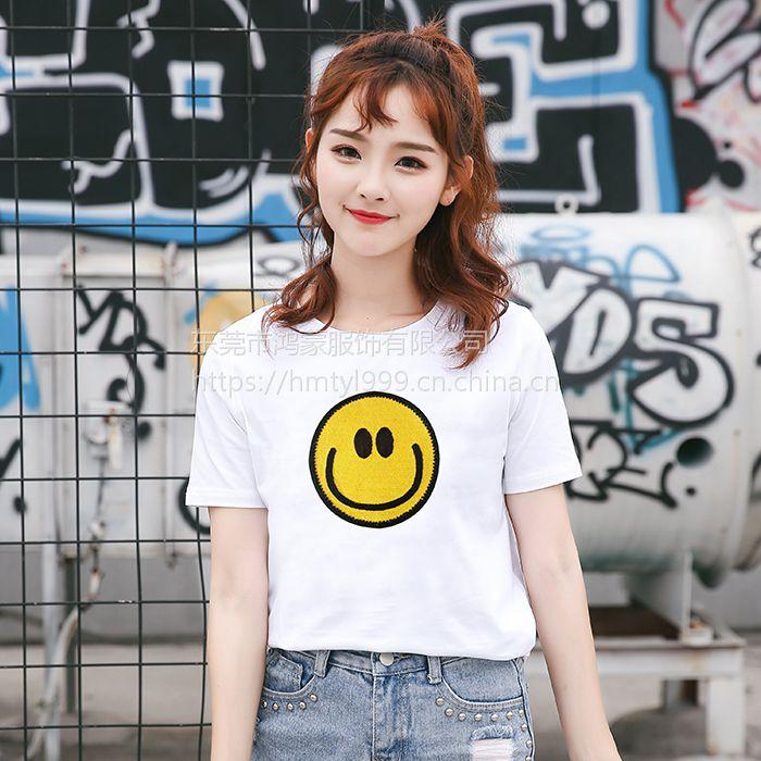 2018夏季新款韩范学院风文艺百搭甜美笑脸纯棉T恤圆领上衣3元起