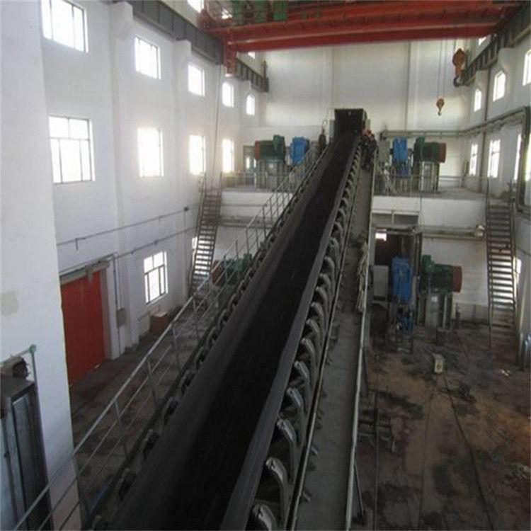 大倾角石渣煤粉挡边式皮带输送机 兴亚长距离槽型淤泥带式输送机