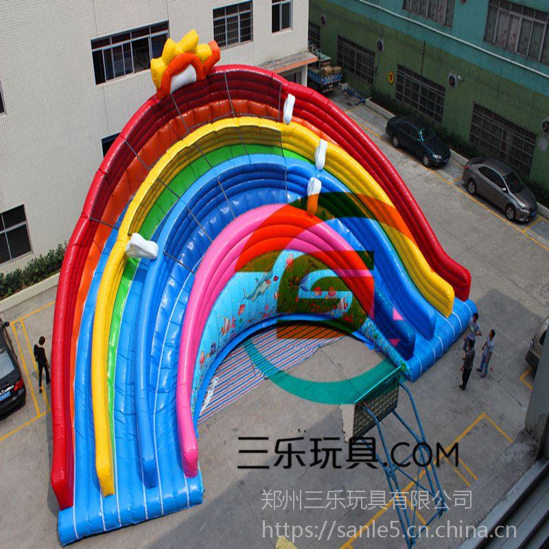 贵州省儿童支架水池移动水上乐园彩虹桥儿童充气水滑梯项目