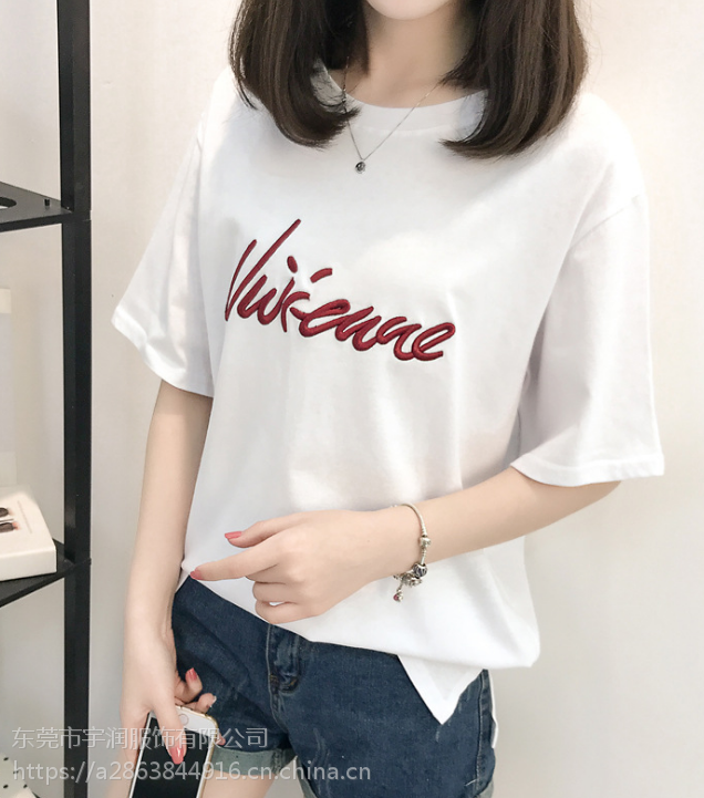 安徽黄山便宜T恤韩版女装上衣纯棉短袖圆领上衣大版T恤库存服装批发