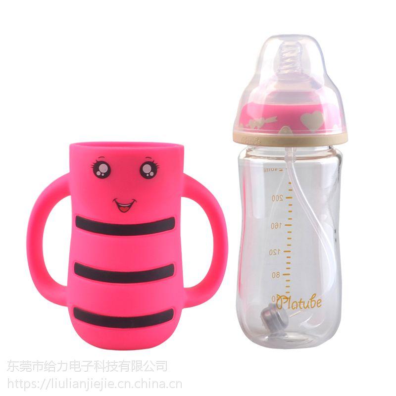 现货批发240ml宽口径玻璃奶瓶宝宝防胀气婴儿用品防摔带吸管儿童喝水瓶