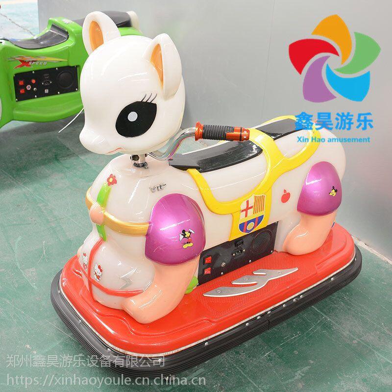 儿童炫酷KT猫发光车 亲子广场遥控电动车 双人遥控发光车
