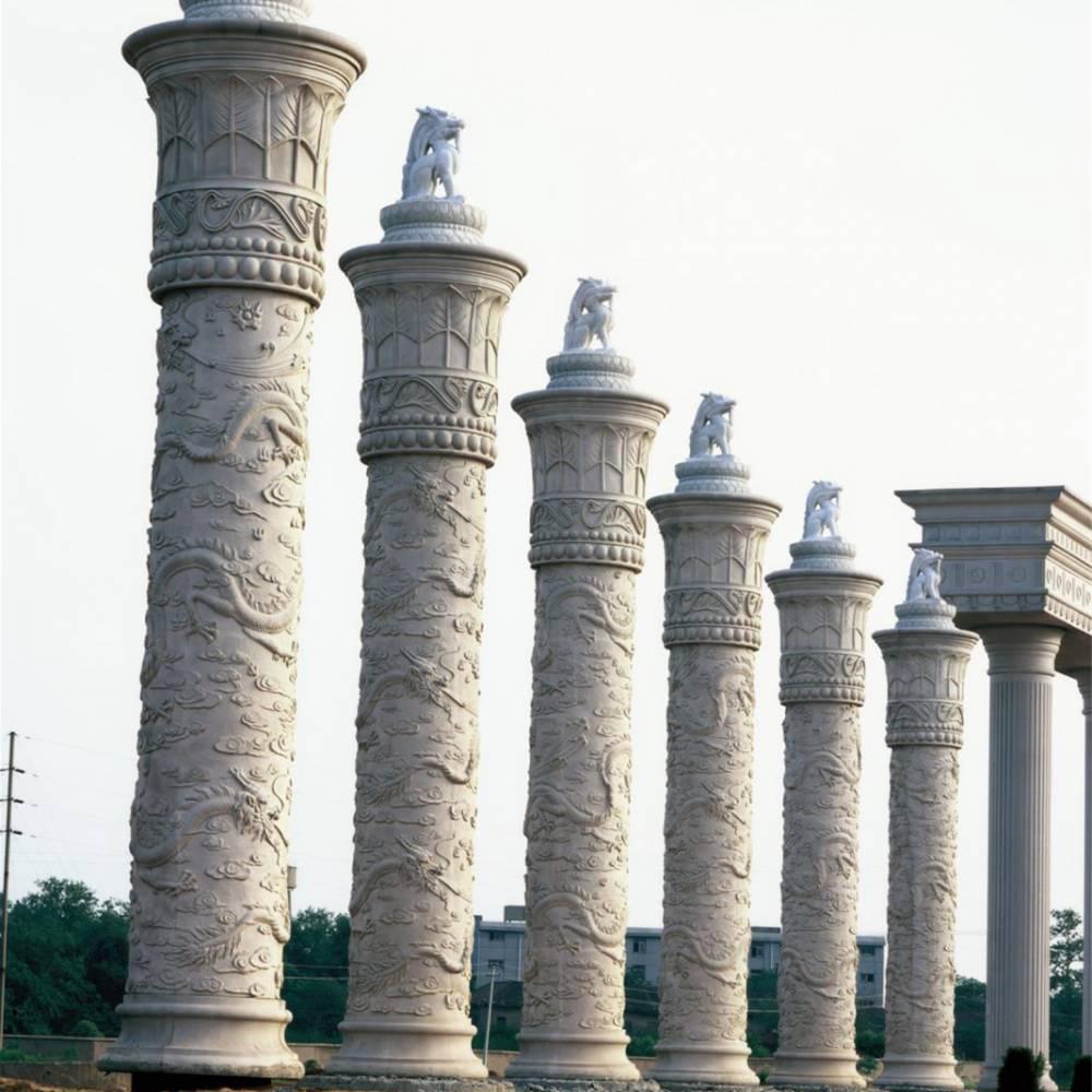 惠安石雕公司 广场石雕龙柱定制 石雕文化柱批发 公园景区石柱子
