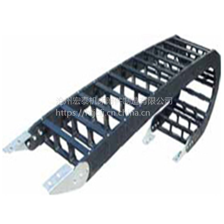 厂家自产自销优质塑料拖链、纯黑带黄点尼龙拖链、型号齐全