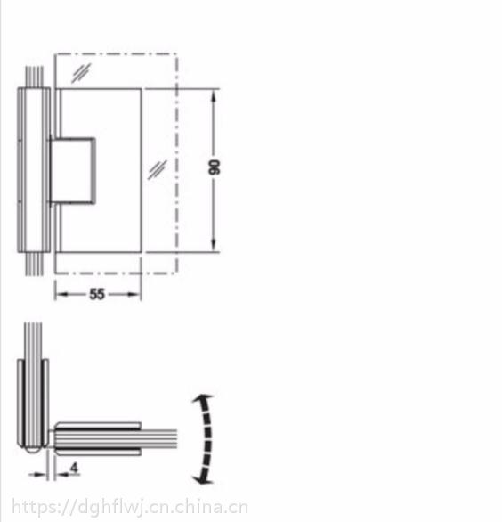 德国海福乐90度淋浴房美式玻璃夹981.51.012