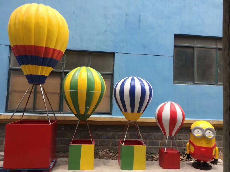 户外玻璃钢景观雕塑制作3米高玻璃钢热气球雕塑模型