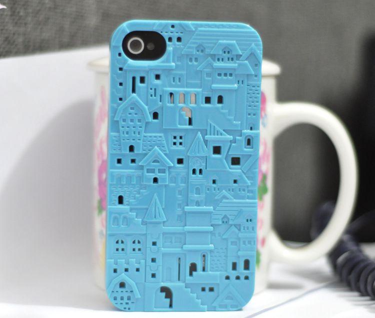 iphone4/4s手机壳镂空立体齿轮玫瑰房子浮雕保护套批发壳进口巧克力保护图片
